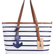 Coofit-Stripes-Tote-Bag-Womens-PU-Leather-Handbag-Purse-with-Sea-Anchor-Pendant-0